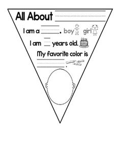 """FREE """"All About Me"""" Flag Banner  Create a banner to get to know your students! Students fill in their name, age, favorite color, and draw a picture of themselves. Attach with string and hang around the classroom for a great way to get to know your class!"""