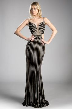 Long Black and Gold Evening Gown with Open Cut-Out Sides 1d6022c79564