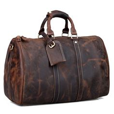 Vintage Crazy Horse Leather Travel Bag / Luggage / Duffle Bag