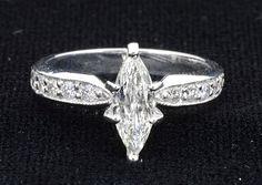 Ring (12) Diamonds .32ct.tw Center Marquise Diamond 1.01ct Clarity VS-2 Colour F…