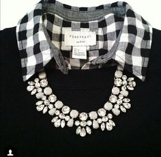 button-down blouse, complimenting sweater, & statement necklace