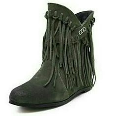 Boots Women's Shoes Leather Wedge Heel Fashion Boots / Pointed Toe Boots.  Green Shoes Ankle Boots & Booties