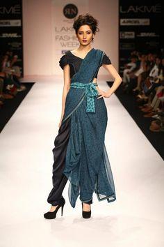 modern fusion of a saree