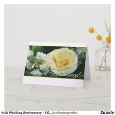 Shop Wedding Anniversary - Yellow Rose Card created by therosegarden. Happy Anniversary Cards, Wedding Anniversary Invitations, Custom Invitations, Invitation Cards, Rose Wedding, Yellow Roses, Custom Greeting Cards, Thoughtful Gifts, Wedding Cards