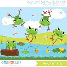 Frog on a log Clip Art / Digital Clipart di MyClipArtStore
