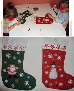 The Christmas boots made by the twins of 2 years it takes paper canson for the boot and to decorate Christmas collages and cotton jig of the boot click in coloring activities: … by aureliekastner Christmas Collage, Kids Christmas, Christmas Crafts, Puffy Paint, Pin Pics, Kids Board, Camping With Kids, Holidays And Events, Christmas Stockings
