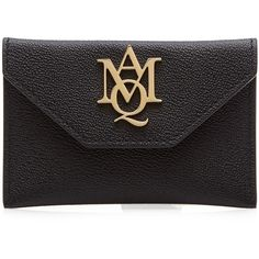 Alexander McQueen Leather Card Holder (207 AUD) ❤ liked on Polyvore featuring bags, wallets, black, 100 leather wallet, card carrier wallet, card case wallet, genuine leather wallet and alexander mcqueen