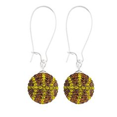 Handcrafted Mocha-Citrine (Brown-Yellow) Basketball Earrings with Silver Wire, Item E-BB24, Price:  $35.99, © GameDay Fusion