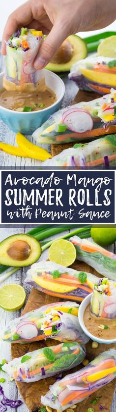 These vegan summer rolls with avocado, mango, and mint are such a delicious and healthy vegan dinner or lunch! I LOVE serving them with peanut sauce. So yummy! One of my all-time favorite vegan recipes! <3 | veganheaven.org