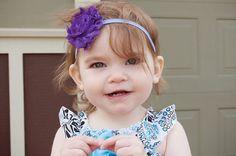 Stretchy Shabby Headband  Purple flower on by CraftingAdventures, $4.00