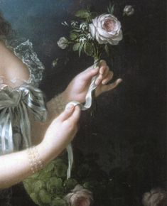 detail of the painting marie antoinette with the rose by élisabeth vigée-lebrun
