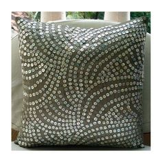 Cotton Craft - Peacock Hand Beaded Decorative Pillow 12x12 Square Silver, Painstakingly and lovingly handmade by skilled Artisans, A beautiful and elegant accessory to dress up your couch, sofa or bed
