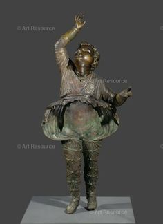 """1st century BCE, Attis.  Attis, companion of the Goddess Cybele, who, in a fit of orgiastic frenzy, is said to have emasculated himself. Hellenistic bronze, head added in the 17th c. From """"Les Bronzes de la Couronne"""", the collection of Louis XIV."""