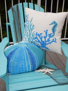 Outdoor pillow SEAHORSE AND CORAL square or by crabbychris on Etsy