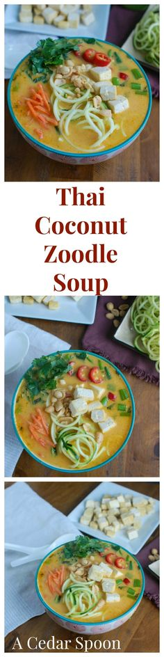 Thai Coconut Zoodle Soup is a healthier version of your favorite Thai noodle soup recipe The zucchini noodles lighten up this easy vegetarian soup recipe pairing well wit. Soup Recipes, Chicken Recipes, Cooking Recipes, Healthy Recipes, Vitamix Recipes, What's Cooking, Ketogenic Recipes, Thai Recipes, Lunch Recipes