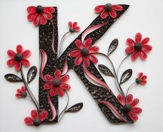 A pink daisies quilled letter K monogram made by artist Stacy Bettencourt, owner of Mainely Quilling in Jefferson, Maine. Quilled Paper Art, Paper Quilling Designs, Quilling Paper Craft, Paper Crafts, Quilling Letters, 3d Quilling, Hobbies And Crafts, Diy And Crafts, Arts And Crafts