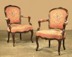 country frech tapestry | 491: Pair of Country French tapestry chairs with rose c : Lot 491