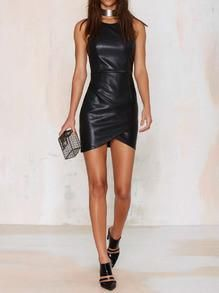 Sexy short black leather dress. This is a tight bodycon dress that is perfect for a date night or nice dinner night. This little black dress is one of the top t