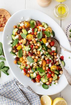 This Easy Chickpea Salad Is The Perfect Healthy Lunch Meal Prep Recipe Make It Ahead For A Cookout, Or Bring It To Work For Lunches All Week Goat Cheese, Dates, And Cumin Make It Deliciously Sweet and Savory Love And Lemons Lunch Recipes, Vegetarian Recipes, Healthy Recipes, Keto Recipes, Icing Recipes, Cod Recipes, Cabbage Recipes, Broccoli Recipes, Healthy Lunches