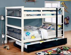 Furniture of America Full over Full Corrin Bunk Bed in Blue Finish Bunk Beds Small Room, Bunk Beds With Drawers, Bunk Bed With Trundle, Full Bunk Beds, Bunk Beds With Stairs, Kids Bunk Beds, Junior Loft Beds, Low Loft Beds, Full Platform Bed