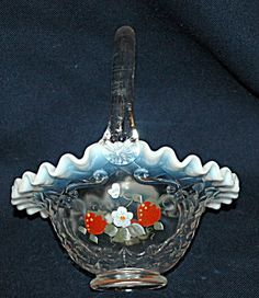 Vintage, Fenton Opalescent Ruffle Strawberry Glass Basket, Signed