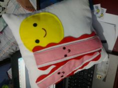 Egg and bacon pillow