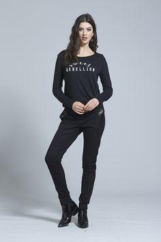 Sweet Rebellion Long T ⋆ Erina Emery Women Wear, Graphic Sweatshirt, Sweatshirts, Winter, Sweet, Long Sleeve, Sweaters, How To Wear, Jackets