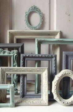 Mint Green and Gray Painted Picture Frames, Made to ORDER Set of 10 Vintage Frames, Sea Glass Green, Grey and Ivory Frames, Ornate Frames Painted Picture Frames, Frames On Wall, Nursery Frames, Empty Frames, Decorating With Picture Frames, Gold Nursery, Upcycled Furniture, Painted Furniture, Interior Pastel
