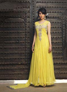 Buy online salwar kameez. Customization and free shipping worldwide. Shop this net yellow anarkali salwar kameez.