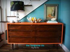 Mid Century Dresser made Modern in Tangerine by theTurquoiseIris, $425.00