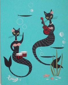 "El Gato Gomez Art | sailorgil:"" Musical MerCats "" … Artist: El Gato Gomez"