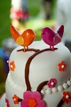 Custom Polymer Clay Bird Cake Topper