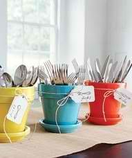 Love the idea of using potted plants for silverware. #TIKIBrand