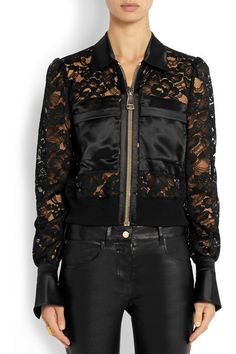 Black lace and silk-satin   Breast pockets, buttoned cuffs, ribbed hem Zip fastening through front 82% cotton, 18% polyamide; trim1: 100% silk; trim2: 97% polypropylene, 2% polyamide, 1% polyurethane Dry clean Small to size. See Size & Fit tab.