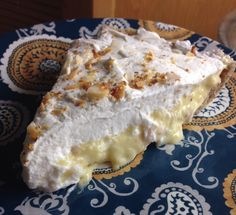 Coconut cream pie (can use less sweetener than suggested)