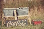 rustic old wash tub's and coca-cola sign*
