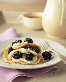 Paper-thin crepes are improved upon health-wise with blackberries; this fruit is among the most fiber-rich you'll find and is a good source of vitamin C. Buttermilk -- a lower-fat alternative to heavy cream -- provides the base for the filling.