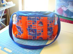 Handmade diaper bag from Boise State fabric.