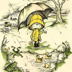 Joan Walsh Anglund and April Spring Showers 1963 Poster Lithograph