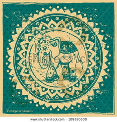 Vintage Indian Ornament With An Elephant Stock Vector 109590638 : Shutterstock