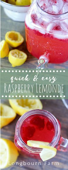 Quick & Easy Raspberry Lemonade Raspberry lemonade is easy to make and will be a hit at your next summer gathering. Fresh lemons and ripe raspberries give amazing flavor and color! Lemonade Punch Recipe, Pink Lemonade Recipes, Flavored Lemonade, Homemade Lemonade Recipes, Homemade Recipe, Raspberry Recipes, Ginger Ale, Raspberry Lemonade Cupcakes, Raspberry Punch