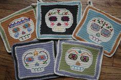 Skull potholders. Finished! by SarahIvy, via Flickr