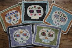 Day of the Dead potholders.
