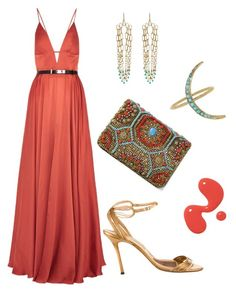 """""""Coral and Turquoise"""" by dominosfalldown ❤ liked on Polyvore featuring Aurélie Bidermann, Marchesa, Jason Wu, Brian Atwood and colorchallenge"""