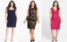 Vestidos de noche cortos y elegantes para mujeres con curvas. Vestido azul, negro o rosa, ¿cuál prefieres?