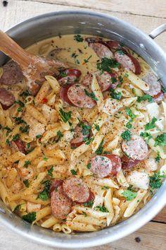 One Pot Cajun Chicken Pasta Alfredo with Sausage