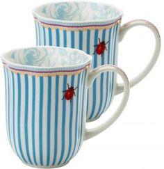 Lisbeth Dahl Stripie Ladybird Porcelain Mug esprit: rayé à l'exterieur et motif à l'interieur
