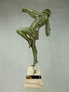 CARLIER GRANDE STATUE DE FEMME ART DECO SCULPTURE Ca 1925 BASE MARBRE 41CM SIGNE   eBay