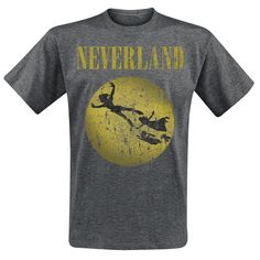 """- Front print - Crew neck - Regular fit  Have you always dreamed of following Peter Pan to Neverland, where you can have fun forever and never grow up? This mottled grey t-shirt displays Peter Pan, Wendy and co. on their way to Neverland, alongside the word """"Neverland"""". With this t-shirt, you can preserve a piece of your childhood self and never truly become an adult."""