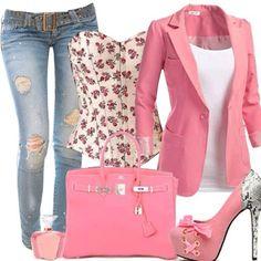 Cute pink look...